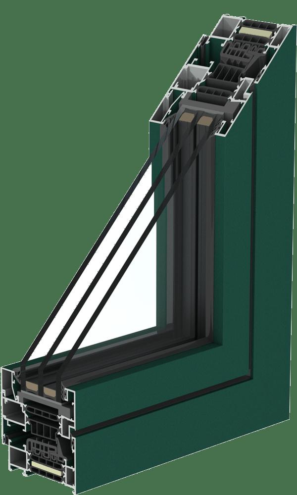 IT Finestre Alluminio COR 80 RAL6005 TD Mirano Infissi 1